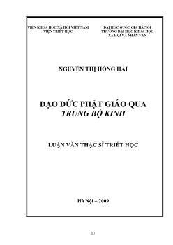 Tóm tắt Luận văn Đạo đức Phật giáo qua trung bộ kinh