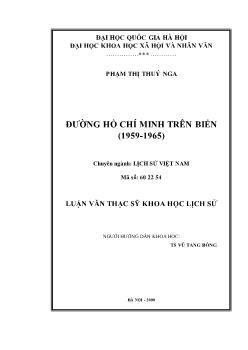 Tóm tắt Luận văn Đường Hồ Chí Minh trên biển (1959-1965)
