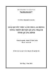 Tóm tắt Luận văn Giải quyết việc làm cho lao động nông thôn ở huyện Quảng Trạch, tỉnh Quảng Bình