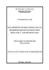 Tóm tắt Luận văn Hạn chế rủi ro tín dụng trong cho vay hộ kinh doanh tại Ngân hàng TMCP Đông Nam Á – Chi nhánh Đà Nẵng