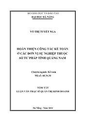 Tóm tắt Luận văn Hoàn thiện công tác kế toán ở các đơn vị sự nghiệp thuộc Sở tư pháp tỉnh Quảng Nam