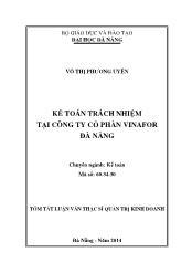 Tóm tắt Luận văn Kế toán trách nhiệm tại Công ty cổ phần Vinafor Đà Nẵng