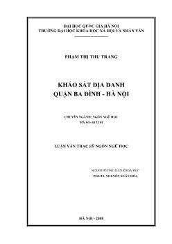 Tóm tắt Luận văn Khảo sát địa danh quận Ba Đình - Hà Nội