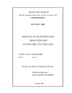 Tóm tắt Luận văn Khảo sát từ mượn tiếng Anh trong tiếng Hàn (có đối chiếu với tiếng Việt)