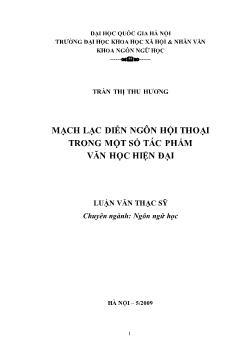 Tóm tắt Luận văn Mạch lạc diễn ngôn hội thoại trong một số tác phẩm văn học hiện đại