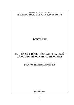 Tóm tắt Luận văn Nghiên cứu đối chiếu các thuật ngữ xăng dầu tiếng Anh và tiếng Việt