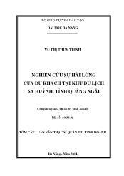 Tóm tắt Luận văn Nghiên cứu sự hài lòng của du khách tại khu du lịch Sa Huỳnh tỉnh Quảng Ngãi