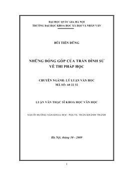 Tóm tắt Luận văn Những đóng góp của Trần Đình Sử về thi pháp học
