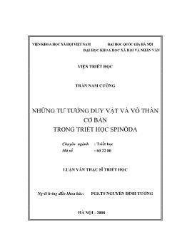 Tóm tắt Luận văn Những tư tưởng duy vật và vô thần cơ bản trong triết học Spinôda
