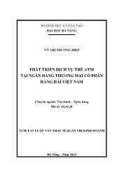 Tóm tắt Luận văn Phát triển dịch vụ thẻ atm tại ngân hàng thương mại cổ phần hàng hải Việt Nam