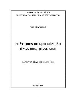 Tóm tắt Luận văn Phát triển du lịch biển đảo ở Vân Đồn, Quảng Ninh