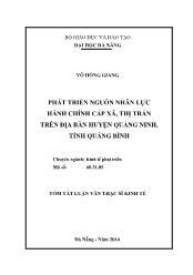 Tóm tắt Luận văn Phát triển nguồn nhân lực hành chính cấp xã, thị trấn trên địa bàn huyện Quảng Ninh, tỉnh Quảng Bình