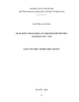 Tóm tắt Luận văn Sự ra đời và hoạt động của hội Khai trí Tiến Đức giai đoạn 1919 - 1925