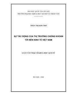 Tóm tắt Luận văn Sự tác động của thị trường chứng khoán tới nền kinh tế Việt Nam