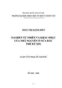 Tóm tắt Luận văn Tai biến tự nhiên và khắc phục của nhà Nguyễn ở nửa đầu thế kỷ XIX