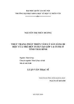 Tóm tắt Luận văn Thực trạng phát triển tâm lý sẵn sàng đi học của trẻ đến tuổi vào lớp 1 (6 tuổi) ở tỉnh Thái Bình
