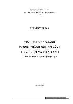 Tóm tắt Luận văn Tìm hiểu vế so sánh trong thành ngữ so sánh tiếng Việt và tiếng Anh