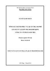 Tóm tắt Luận văn Tính giá thành phục vụ quản trị chi phí sản xuất tại Sơn Trà resort&spa công ty cổ phần Sơn Trà