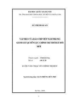 Tóm tắt Luận văn Vai trò của báo chí Việt Nam trong giám sát quyền lực chính trị thời kỳ đổi mới