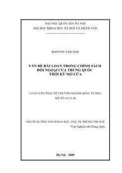 Tóm tắt Luận văn Vấn đề Đài Loan trong chính sách đối ngoại của Trung Quốc thời kỳ mở cửa