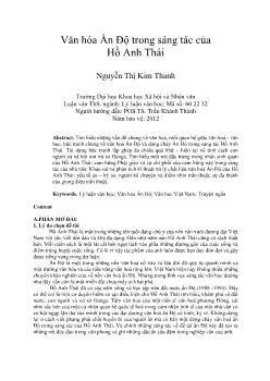 Tóm tắt Luận văn Văn hóa Ấn Độ trong sáng tác của Hồ Anh Thái (Nguyễn Thị Kim Thanh)