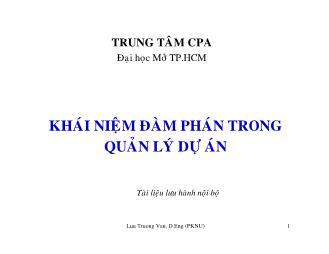Giáo trình Khái niệm đàm phán trong quản lý dự án - Lưu Trường Văn