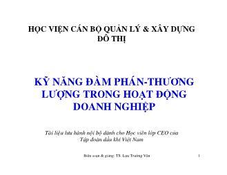 Giáo trình Kỹ năng đàm phán - Thương lượng trong hoạt động doanh nghiệp - Lưu Trường Văn