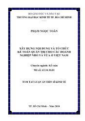 Tóm tắt Luận án Xây dựng nội dung và tổ chức kế toán quản trị cho các doanh nghiệp nhỏ và vừa ở Việt Nam